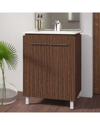 "Briceno 24"" Single Bathroom Vanity Set Mercury Row® Base Finish: Black Walnut"