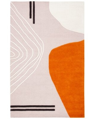 Davey Abstract Handmade Tufted Wool Ivory/Light Pink Area Rug