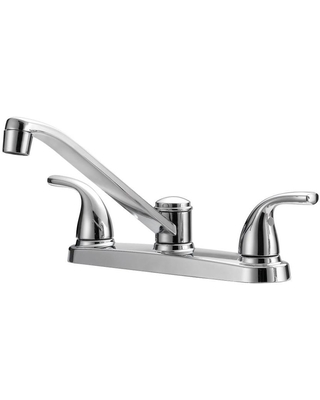 Project Source Dover Chrome 2-Handle Deck-mount Low-arc Handle Kitchen Faucet (Deck Plate Included) | F8F11094CP