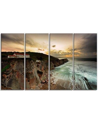 """Design Art 'Ocean Hitting Rocky Hill' 4 Piece Photographic Print on Wrapped Canvas Set, Canvas & Fabric in Brown, Size Medium 25""""-32"""" 