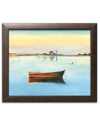 """Breakwater Bay 'Painterly Décor Boat Reflections' Acrylic Painting Print BF127821 Size: 11"""" H x 14"""" W x 0.75"""" D Format: Brown Framed"""