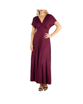 24/7 Comfort Apparel Short Sleeve V Neck Maxi Dress, Small , Red