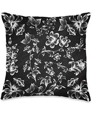 Decorative Throw Pillow Collective Black and White Floral Flower Pattern Sofa Couch Decorative Throw Pillow, 16x16, Multicolor