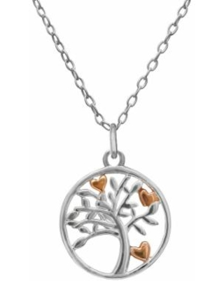 """""""PRIMROSE 18k Rose Gold over Sterling Silver Two-Tone Heart Tree Pendant Necklace, Women's, Size: 18"""", Pink"""""""