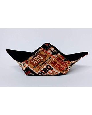 BBQ Style with Pigs quilted cotton reversible microwavable soup bowl holder or cozy