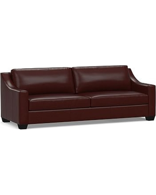 """York Slope Arm Leather Grand Sofa 95"""", Polyester Wrapped Cushions, Signature Espresso"""