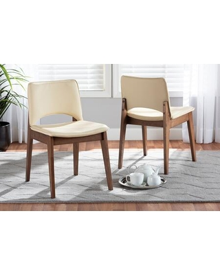 Afton Collection RDC827-BEIGE/WALNUT-DC Mid-Century Modern Beige Faux Leather Upholstered and Walnut Brown Finished Wood 2-Piece Dining Chair