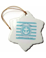 The Holiday Aisle® Anchors Aweigh a Baby's on the Way Nautical Boy Baby Shower Snowflake Holiday Shaped Ornament X113720033