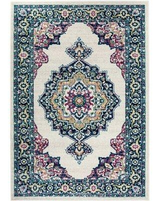 World Menagerie Yacine Oriental Ivory/Blue Area Rug W002486907 Rug Size: Rectangle 5' x 7'