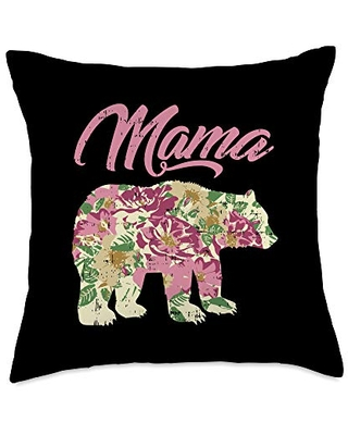 BoredKoalas Mother's Day Mom Gifts Pillows Mama Bear Cute Best Mom Day Mommy Ma Mother Gift Throw Pillow, 18x18, Multicolor