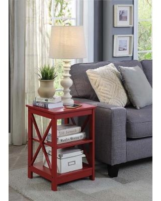 Oxford End Table in Cranberry Red - Convenience Concepts 203085CR
