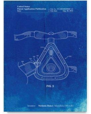 "Trademark Art 'Cpap Mask' Drawing Print on Wrapped Canvas ALI22088-C Size: 19"" H x 14"" W"
