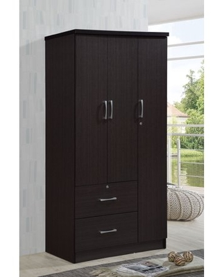 Hodedah 3-Door 36 in. Wide Armoire with 2-Drawers, Clothing Rod and 3-Shelves in Chocolate
