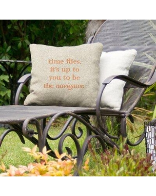 "East Urban Home Time Flies Indoor/Outdoor Throw Pillow EBJZ9643 Size: 18"" x 18"" Color: White/Orange"