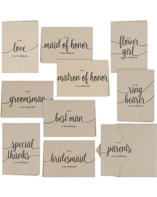 Le Prise Kraft Wedding Party Thank You Card Set W000162088