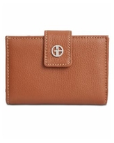 Giani Bernini Framed Indexer Leather Wallet, Created for Macy's - Cognac/Silver