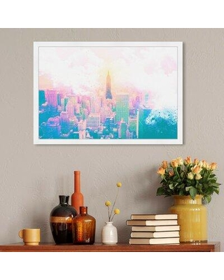 """House of Hampton 'Wonders of Ny' Graphic Art Print W002193061 Format: White Framed Size: 20"""" H x 30"""" W x 2""""D"""