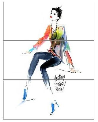 Design Art Young Woman Colorful - 3 Piece Graphic Art on Wrapped Canvas Set PT8240-3PV