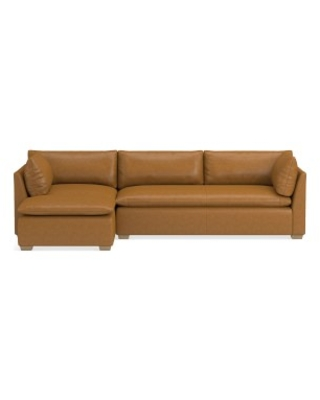 """Laguna Sectional, 26"""" Depth, 3-Piece L-Shape Chaise with Ottoman, Left, Down Cushion, Italian Distressed Leather, Caramel, Natural Leg"""