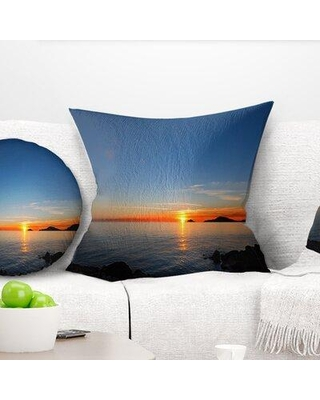"East Urban Home Seascape Dark Sunset in Gulf of La Spezia Throw Pillow VSIF7683 Size: 18"" x 18"" Product Type: Throw Pillow"