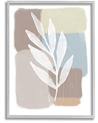 Stupell Industries Forest Fern Silhouette Geometric Squares Blue, Designed by Linda Woods Gray Framed Wall Art, 16 x 20, Brown