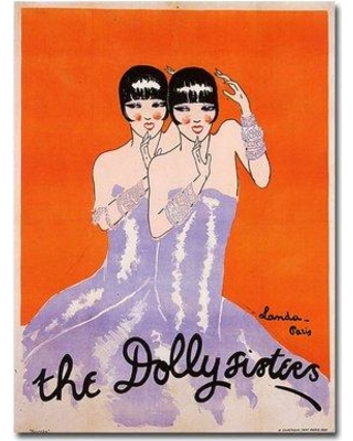 """Trademark Fine Art 'The Dolly Sisters' by Julien Landa Framed Vintage Advertisement on Wrapped Canvas V8998-C1824GG / V8998-C3547GG Size: 24"""" H x 18"""" W x 2"""" D"""