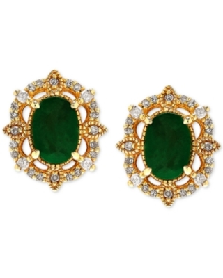 Emerald (9/10 ct. t.w.) & Diamond (1/8 ct. t.w.) Stud Earrings in 14k Yellow Gold (Also Available in Sapphire)