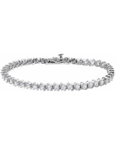 """Lab-Created White Sapphire Sterling Silver Tennis Bracelet, Women's, Size: 7.25"""""""
