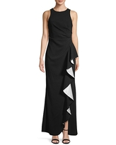 Carmen Marc Valvo Infusion Women's Ruffle Front Gown - Blush - Size 8