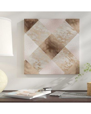 """East Urban Home 'Chic Rose Gold Marble Copper' Graphic Art Print ERNI1799 Size: 16"""" H x 16"""" W x 1.5"""" D Format: Wrapped Canvas"""