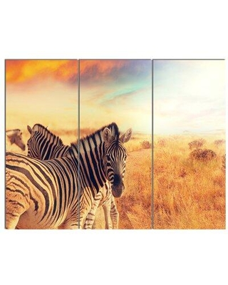 Design Art 'Zebras Herd in Field At Sunset' 3 Piece Photographic Print on Wrapped Canvas Set, Canvas & Fabric in Brown | Wayfair PT12303-3P