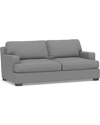 """Townsend Square Arm Upholstered Loveseat 78"""", Polyester Wrapped Cushions, Textured Twill Light Gray"""