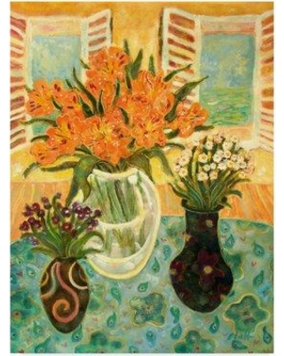 """World Menagerie 'Flowers on a Table' Watercolor Painting Print on Wrapped Canvas WRME2658 Size: 24"""" H x 18"""" W x 2"""" D"""