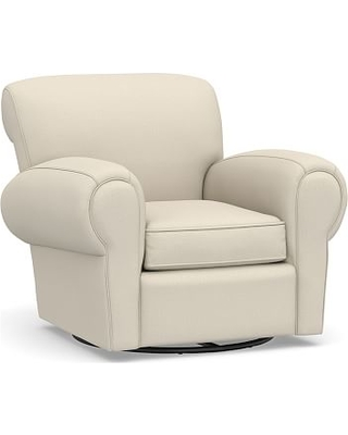 Manhattan Upholstered Swivel Armchair, Polyester Wrapped Cushions, Performance Brushed Basketweave Ivory