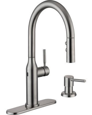 Glacier Bay Kitchen Faucet   Glacier Bay Glacier Bay Upson Single Handle Touchless Pull Down Kitchen Faucet With Turbospray And Fastmount And Soap Dispenser In Stainless Silver