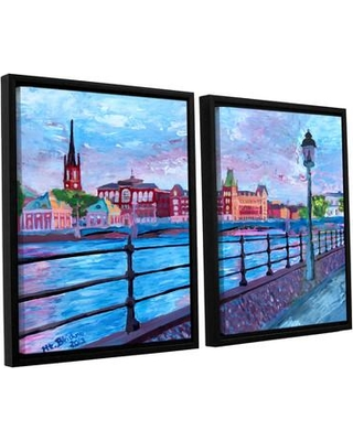 """ArtWall Stockholm City View by Marcus/Martina Bleichner 2 Piece Framed Painting Print on Wrapped Canvas Set 0ble109b2436f / 0ble109b3248f Size: 24"""" H x 36"""" W x 2"""" D"""