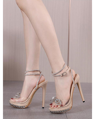 Milanoo Sexy High Heel Sandals Apricot PU Leather Open Toe Lace Up Rhinestones Sexy Heeled Sandals