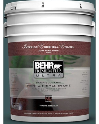 BEHR ULTRA 5 gal. #PPU12-01 Abysse Eggshell Enamel Interior Paint and Primer in One
