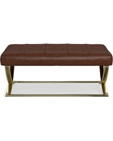James Large Ottoman, Brass, Italian Distressed Leather, Solid, Caramel