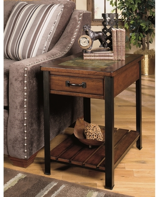 Solid Wood Rectangular End Table (Brown)