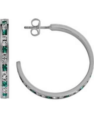 Traditions Sterling Silver Aqua and White Swarovski Crystal Hoop Earrings, Women's