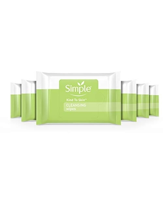 Simple Cleansing Wipes Face Wipes for Removing Makeup Kind to Skin Removes Waterproof Mascara 25 count 6 pack