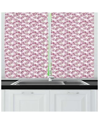Pink Floral Feminine Botanical Pattern Blossoming Flowers Kitchen Curtain East Urban Home
