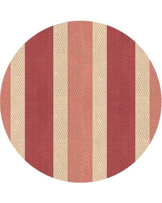 East Urban Home Gleason Striped Wool Pink Area Rug X111637096 Rug Size: Round 3'