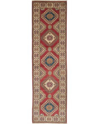 """One-of-a-Kind Ochlocknee Hand-Knotted 2010s Ushak Red 2'8"""" x 9'9"""" Runner Wool Area Rug World Menagerie"""