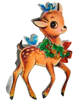 Christmas Tree Ornament Decoration Holiday Reindeer with Bluebirds