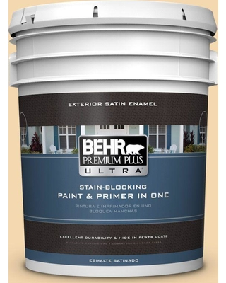 BEHR Premium Plus Ultra 5 gal. #330C-3 Clam Chowder Satin Enamel Exterior Paint and Primer in One