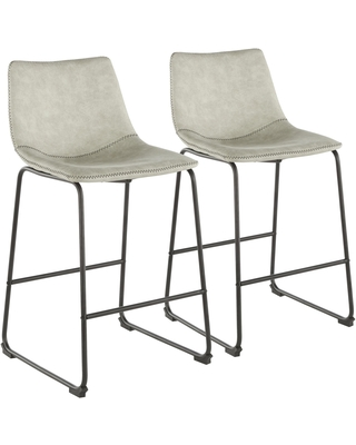 """Duke 26"""" Counter Stool in Black with Light Grey Cowboy Fabric and Black Stitching - Set of 2"""