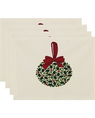 "The Holiday Aisle Mistletoe Me 18"" Placemat HLDY7500 Color: Cream"