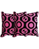 Acura Rugs Decorative Throw Pillow VYZ1191 Color: Pink / Black
